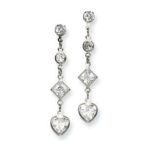 Chisel Stainless Steel CZ Stones Dangle Earrings Chisel Jewelry