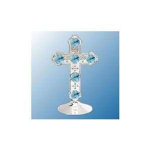 Chrome Plated Cross Free Standing   Blue   Swarovski Crystal