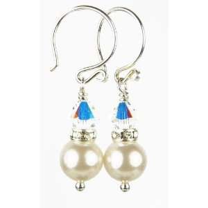 Crystal Swarovski Crystal Pearl Earrings   1 Inch Damali Jewelry