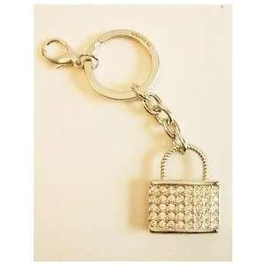 Padlock Silver Tone Crystal Key Ring with Swarovski