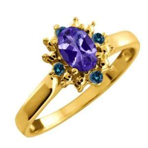 Ct Oval Blue Tanzanite and Blue Diamond 10k Yellow Gold Ring Jewelry