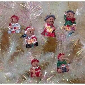 Set of 6 Teddy Bear Miniature Christmas Ornaments