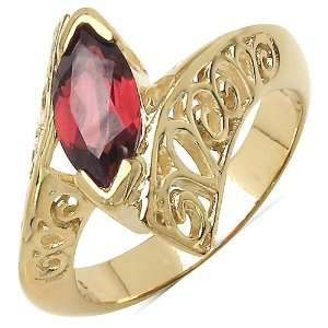 1.10 Carat Genuine Garnet Sterling Silver Ring Jewelry