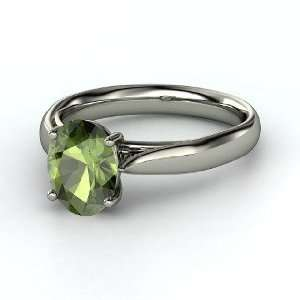 Trellis Solitaire Ring, Oval Green Tourmaline Platinum Ring Jewelry