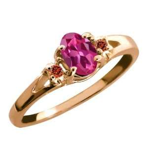 Oval Tourmaline and Cognac Red Diamond 14k Rose Gold Ring Jewelry