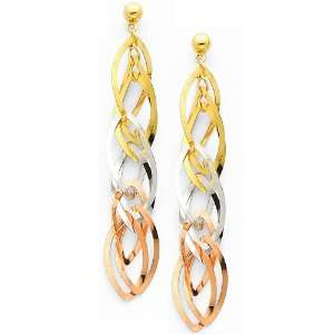 14K 3 Tri Color Gold Twisted Dangle Hanging Earrings with Pushback for