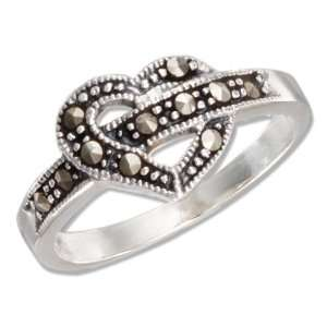 Sterling Silver Marcasite Open Heart Ring (size 07). Jewelry
