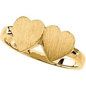 14K Yellow Gold Double Heart Signet Ring Jewelry