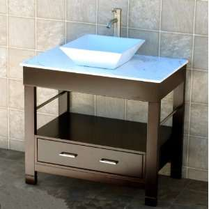 Vanity 36 Bathroom Vanity Cabinet white Marble Top Sink Faucet CG