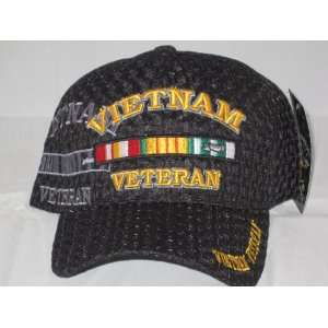 Black Mesh Vietnam Veteran Insignia Cap Hat with Vietnam Medals