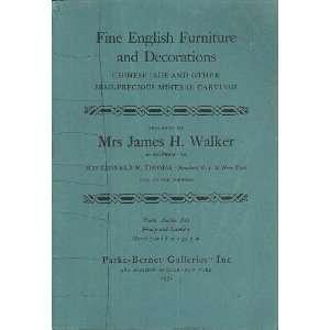 Furniture and Decorations; Mar 7 8, 1952 Mrs. James H. Walker Books