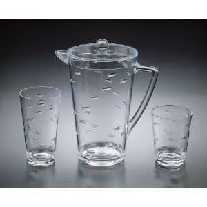 Pitcher Diamond Cut 2 1/2 Qt Pitcher W/ 1 18Oz water Glass, 1 14Oz