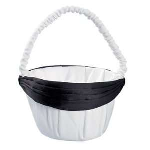 Satin Wedding Basket With Black Bow   Party Decorations