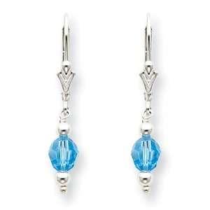 Silver Blue Crystal Leverback Earrings West Coast Jewelry Jewelry