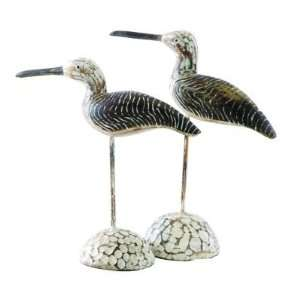 Wood Sandpipers, Hand Carved and Hand Finished, Set of 2