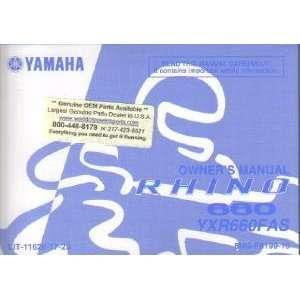 Yamaha YXR660FAS Rhino 660 Auto 4X4 Owners Manual Yamaha Motors