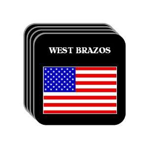 US Flag   West Brazos, Texas (TX) Set of 4 Mini Mousepad