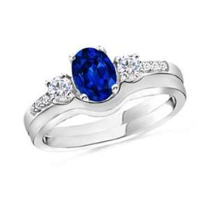 Oval Sapphire and Diamond Ring in Sterling Silver Angara