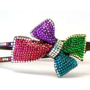 Multi Color Rhinestone Bow Hair Head Band Bling