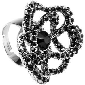 Midnight Crystal Flower Adjustable Ring Jewelry