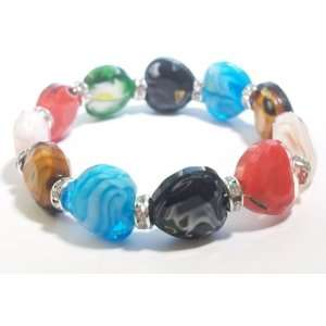 Marble like Glass Heart Shape Stretch Bracelet with Crystal Rondelas