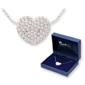 Contessa Sparkling Crystal Pave Heart Pendant Gift Boxed