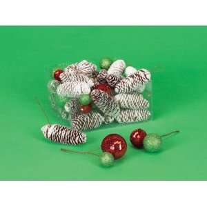 Pack of 164 Candy Crush Frosted Pine Cone and Glitter Ball