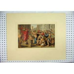 Colour Print Street Scene Men Cow Ancient Greece Home