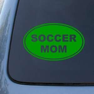 SOCCER MOM   Vinyl Car Decal Sticker #1562  Vinyl Color Green