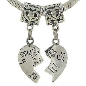 Big Sis and Lil Sis Sterling Silver Heart Bead Charms for