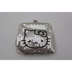 Hello Kitty Sequinse Zipper Coin Money Bag   SILVER