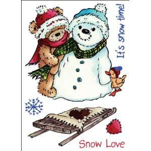 Popcorn The Bear Unmounted Rubber Stamp Set Snow Love