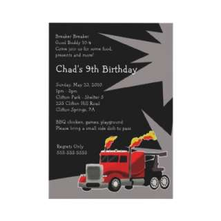 SEMI TRUCK Hot Rod Boys Birthday Invitation by allpetscherished