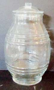 VINTAGE GLASS COOKIE JAR NO MARKINGS