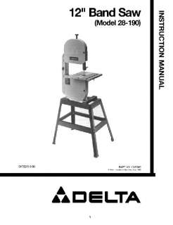 Delta 12 band Saw Instruction Manual 28 190