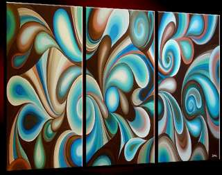 BLUE BROWN ORIGINAL Modern Contemporary ABSTRACT Wall Deco Oil