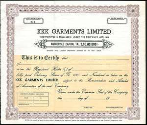 Bangladesh KKK Garments share certificate