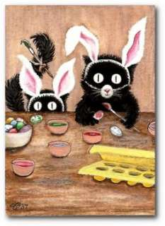 Peek & Boo Black Cats Hamster ArT Easter Egg Coloring Bunny Ears  ACEO