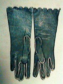 Antique Navy Blue Leather French Fashion Doll Gloves