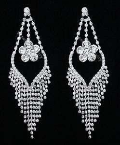 Bridal Wedding Pageant Crystal Chandelier Earrings