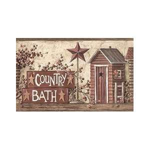 Hunters outhouse wallpaper border country theme chair rail - Country wallpaper borders for bathrooms ...