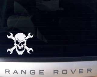 Evil Skull & Wrench Crossbones Auto Decal Sticker