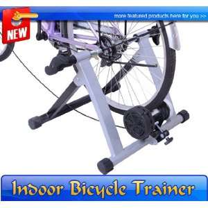 New Silver Black Magnetic Bicycle Bike Trainer Stand Indoor Kinetic