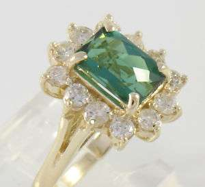 EGL Certified 14k Gold Green Tourmaline Diamond Ring