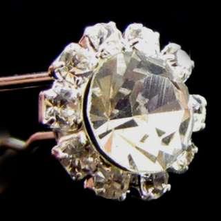 4 clear flower rhinestone crystal Hair Pin fork wedding