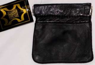 Mens BLACK Leather SQUEEZE COIN PURSE Spring Activated