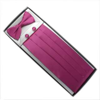 CM1006 purple plain gift idea silk cummerbund bow tie cufflinks hanky