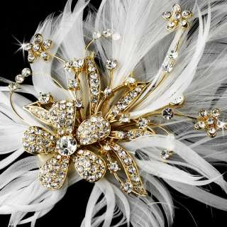Ivory Rhinestone Crystal Bridal Feather Fascinator Hair Comb pin 456GD