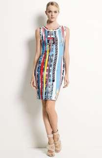 Versace Greek Key Print Stretch Cotton Dress