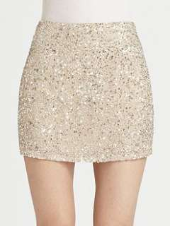 Haute Hippie   Silk Sequin Mini Skirt